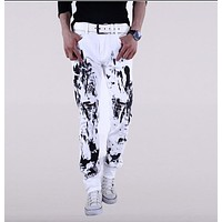 mens jeans 2016 new printed jeans floral print men Hairstylist ink white non-mainstream men's jeans men's casual wear white