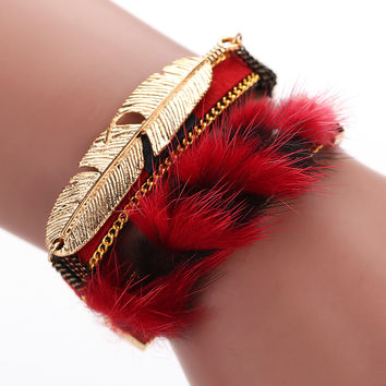 Fashion Handmade Unisex Bangles Bracelet Women Men Alloy Feather Leaves Magnetic Multilayer Leather Bracelets Bangles1STL SN9