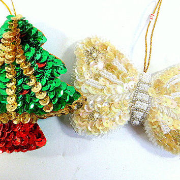 Vintage Sequined  and Beaded Christmas Ornaments, Santa Claus, Toy Soldier, Christmas Tree, Butterfly