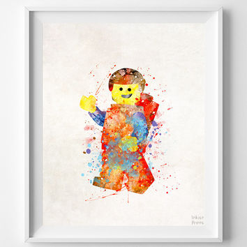 Lego Print, Lego Watercolor Art, Artwork At Home, Artwork For The Home, Modern Art, Artwork For Kitchen, Wall Decor, Halloween Decor
