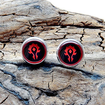 World of Warcraft Horde WOW Alliance Logo earrings jewelry, horde logo symbol emblem video game patch, warcraft wow earrings logo, christmas