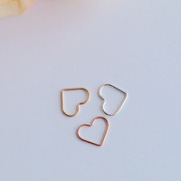 Open Heart Helix Earrings, Cartilage Rook Tragus Earring, 14K Gold Filled, 14K Rose Gold Fill, Sterling Silver.