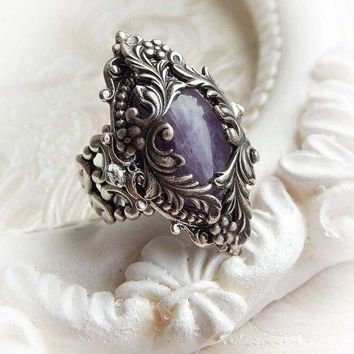 Gothic Victorian Ornate Ring with Amethyst Gemstone
