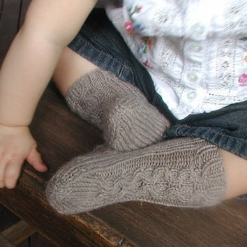 Hand knit Cable Socks Size 9 to 12 months by BabywearbyBabs