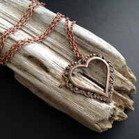 Copper Heart Necklace - Heart Charm Necklace - Valentine's Day Necklace - Copper Chain - Boho - Hippie Necklace