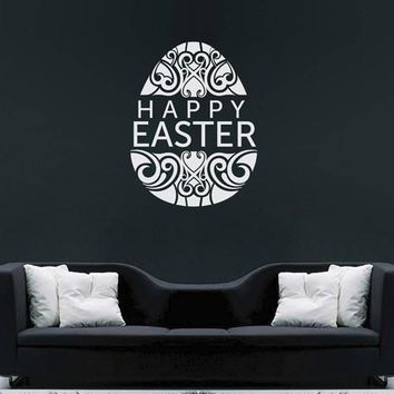 ik2672 Wall Decal Sticker Egg Happy Easter wishes shop stained glass window