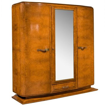 Early 20th Century Art Deco Birchwood Wardrobe