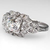 1920's Engagement Ring Old Euro Diamond Platinum Antique - EraGem