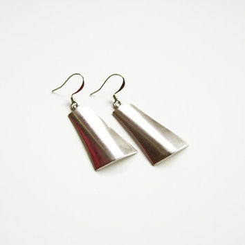Contemporary earrings, Oxidized earrings dangle, Assymetrical modern earrings, Irregular earrings, Oxidized silver earrings