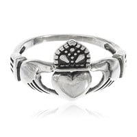 925 Sterling Silver Antique Style Irish Claddagh Friendship and Love Band Celtic Ring