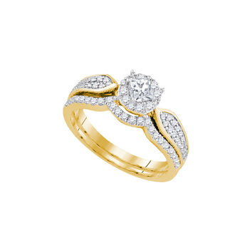 14k Yellow Gold Womens Princess Diamond Bridal Wedding Engagement Ring Band Set 3/4 Cttw 89814