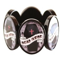 Dead Inside Coffin Cameo Stretchy Bracelet
