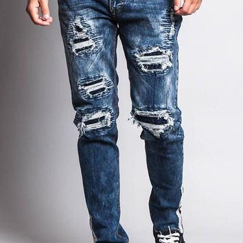 Destroyed Rip Illusion Moto Biker Jeans with Zipper DL1152 - O5C