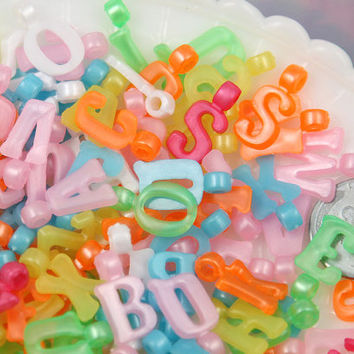 12mm Fun and Cute Plastic Letter Alphabet Acrylic or Resin Charms or Pendants - 200 pc set