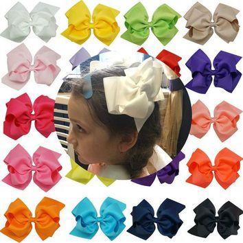 VONEGQ 1pc 6 Inch Bowknot Double Layers Solid Grosgrain Ribbon Hairbow Children Girls Hair Bows Clips Hair Accessories Dancing Hairpins