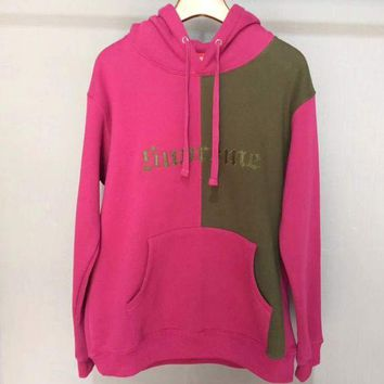Supreme Fashion Casual Woman Men Retro Hoodie Top Sweater Pullover Rose Red+Coffee G