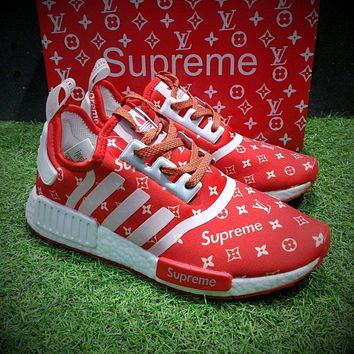 Best Online Sale Louis Vuitton LV x Supreme x Adidas NMD R1 Boost Men R_1 Red White Sp