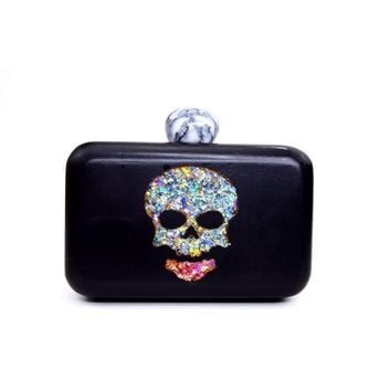 Skull wooden box clutch