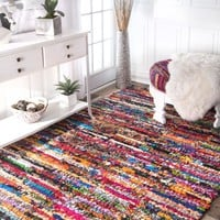nuLOOM Braided Chindi Cotton Michiko Area Rug - Walmart.com