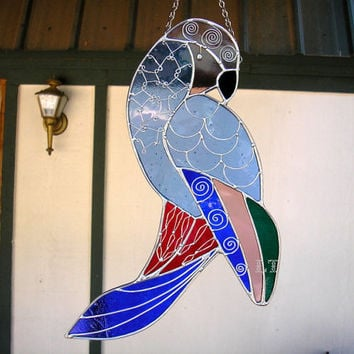 LT Stained glass Parrot bird suncatcher light catcher window hanging cobalt blue yellow, red and green 15 x 6 with wire work