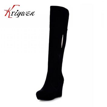 Factory Discount 2015 sexy winter wedges flock knee high boots for women snow zip shoe