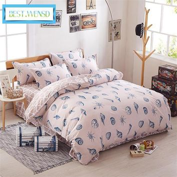 BEST.WENSD Bedroom Ocean Bedding Set cotton Duvet Cover Sets Bed Sheet Pillow cover Home Textile mattress single king-Bed Linen