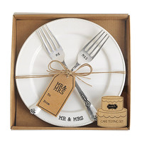Mud Pie Wedding Collection Mr. & Mrs. Cake Testing Plate with 2 Forks | Dillards