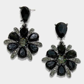 Crystal Rhinestone Flower Drop Earrings