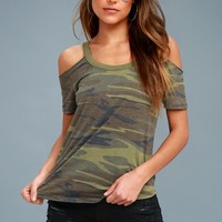 Thunderbird Green Camo Print Cold Shoulder Tee