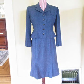vintage womens suit / 1940s womans suit 1950 wool suit womens jacket skirt blazer wool blue vintage wool suit