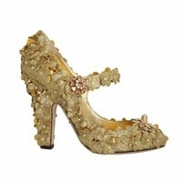 Dolce & Gabbana Gold Glitter Leather Floral Crystal Shoes