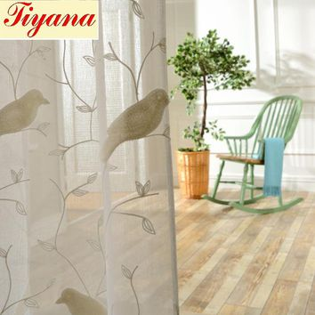 Bird Pattern 3D Tulle Voile Embroidery Drape Sheer Curtain