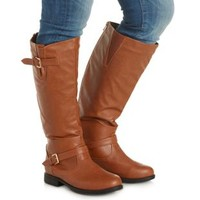 Cognac WIDE FIT Flat Riding Boots by Charlotte Russe