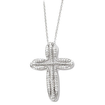 Sterling Silver April CZ Birthstone Message of the Cross 18in Necklace