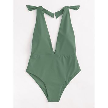 Women's Army Green Deep V Plunge Knot One Piece Monokini Swimsuit