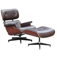 Mid Century Modern Lounge Chair and Ottoman in Brown Top Grain Italian Leather