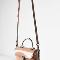 Vegan Patent Leather Studded Crossbody Bag - Urban Outfitters