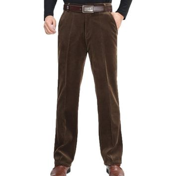 Winter Stretch corduroy trousers thick velvet men's casual pants loose straight trousers winter models strip Trousers 75