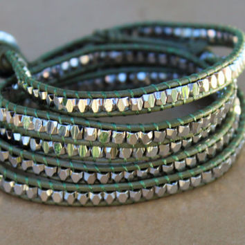 Five Leather Wrap Bracelet - Green Leather and Silver Nugget Bead Five Wrap Bracelet - Layering Jewelry - Bohemian Jewelry - Boho Chic