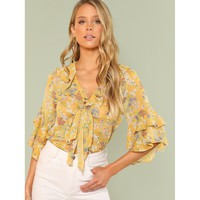 Tie Neck Layered Flounce Sleeve Floral Top
