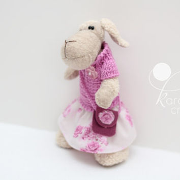 Handmade sheep toy dressed in skirta nd knitted sweater, handmade plush animal, FREE SHIPPING