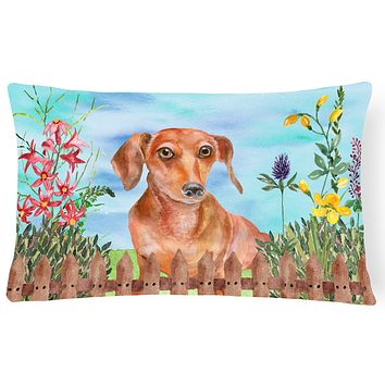 Red Dachshund Spring Canvas Fabric Decorative Pillow CK1269PW1216