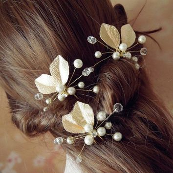 1PC Bride Style Headband Gold Metal Leaf Pearls Beads Flower Hairpins Barrette for Women Wedding Dress Jewelry Hair Accessories