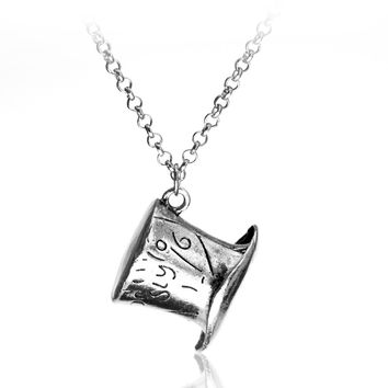 Alice In Wonderland Silver necklace with Mad Hatter's hat pendant