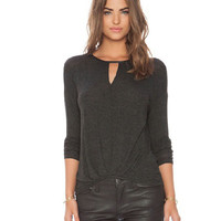 Black Cut-Out Long Sleeve Top with Ruched Hem