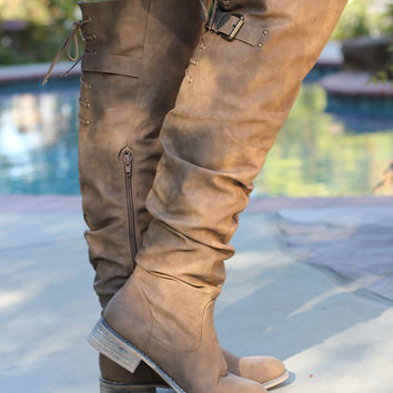 Take A Stroll Knee-High Boots - Taupe