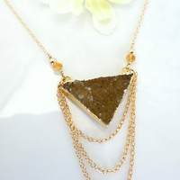 Triangle druzy agate brown druzy gold triple chain necklace, bohemian chic triangle druzy necklace, natural druzy triangle gold necklace