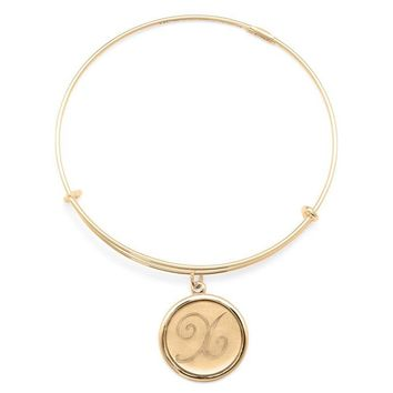 Alex and Ani Precious Initial X Charm Bangle - Gold Filled