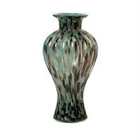 Contemporary Vase - Turquoise, Chocolate Brown And Gold