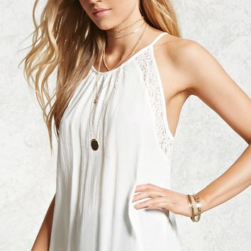 Lace Paneled Tie-Back Cami